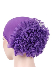 Fashion Light Purple Solid Color Large Flower Milk Silk Lace Flower Flower Head Cap