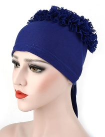 Fashion Royal Blue Large Flower Lace Side Flower Baotou Cap