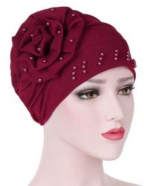 Fashion Red Side Flower Flower Beaded Large Flower Headscarf Cap