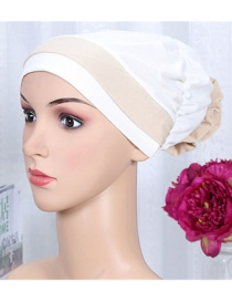 Fashion White Two-color Elastic Cloth Wearing A Flower Headband Hat