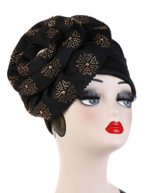 Fashion Black 27 Flower Hot Drilling Cuffed Hood Hat
