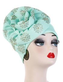 Fashion Mint Green 33 Flower Hot Drilling Cuffed Hooded Hat