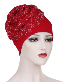 Fashion Red Wavy Cashew Flower Hot Bit Towel Cap