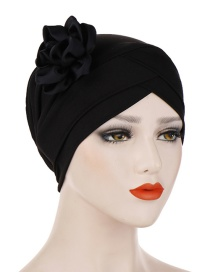 Fashion Black Milk-colored Side Flower Turban Cap