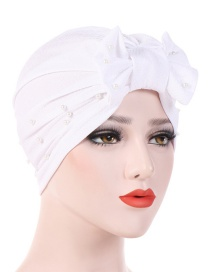 Fashion White Detachable Bow Neck Pearl Towel Cap