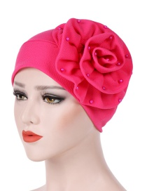 Fashion Rose Red Side Flower Large Flower Nail Pearl Turban Cap