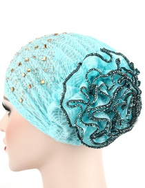Fashion Sky Blue Flowered Bonnet With Hot Diamond