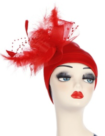 Fashion Red Space Cotton Side Mesh Large Flower Headscarf Cap