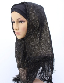 Fashion Black Bright Silk Scarf With Headscarf