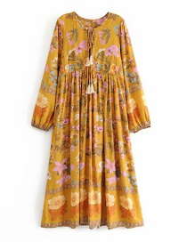 Fashion Ginger Yellow Men's Cotton Fringed Copper Column Dress