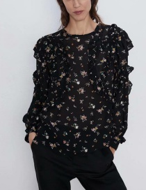 Fashion Black Laminated Flower Print Top