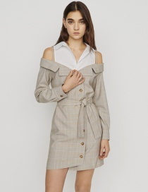 Fashion Khaki Off-shoulder Stitching Plaid Suit Dress