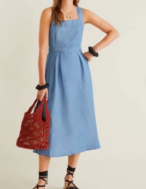 Fashion Blue Cross Straps Back Buttoned Denim Dress