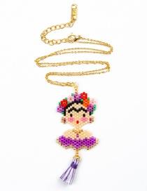 Fashion Purple Rice Beads Woven Necklace