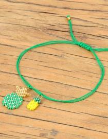 Fashion Green Pineapple Stars Rice Beads Braided Bracelet