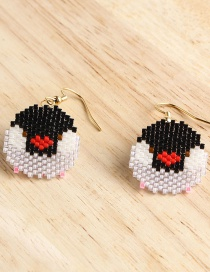 Fashion Black And White Cartoon Version Of Penguin Rice Beads Woven Earrings