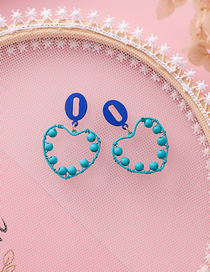 Fashion Blue 925 Silver Needle Oval Love Number 0 Beaded Earrings