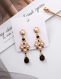 Fashion Black 925 Silver Needle Pearl Drop Gemstone Earrings