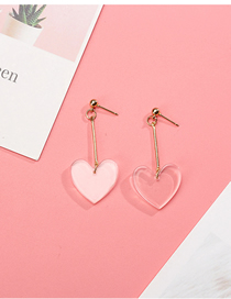 Fashion White Acrylic Transparent Love Earrings