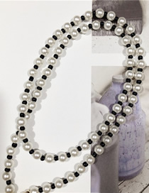 Fashion White + Black Metal Pearl Rice Beads Stacked Necklace