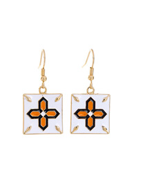 Fashion White Drop Glaze Cross Flower Earrings