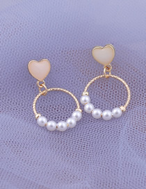 Fashion Gold Drop Glaze Heart Shaped Geometric Pearl Earrings