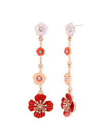 Fashion Long Gold Crystal Stud Earrings S925 Sterling Silver
