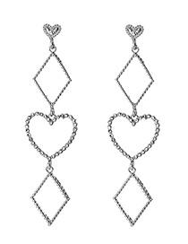 Fashion Silver Alloy Studded Geometric Earrings