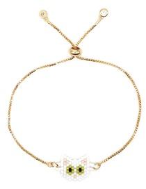 Fashion Gold Rice Beads Woven Kitten Bracelet