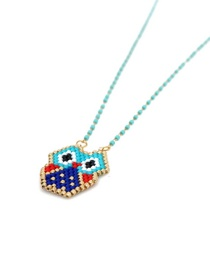 Fashion Color Rice Beads Woven Owl Necklace