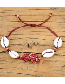 Fashion Red Rice Beads Woven Baby Elephant Natural Shell Bracelet