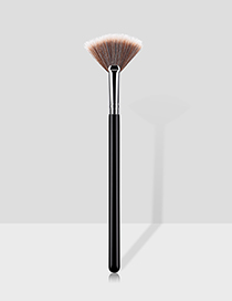 Fashion Black And Silver Single Small Fan-shaped Makeup Brush