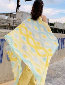 Fashion Yellow Abstract Diamond Print Scarf Shawl