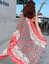 Fashion Red Back Character Pattern Contrast Color Print Tassel Scarf Shawl