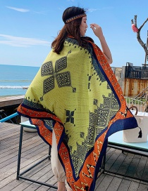 Fashion Yellow Printed Fringed Scarf Shawl
