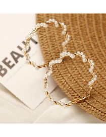 Fashion Gold Wrapped Pearl Big Circle Earrings
