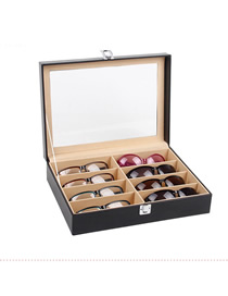 Fashion Black 8 Leather Glasses Display Box