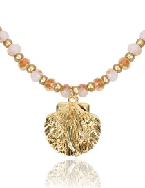 Fashion Pink Glass Crystal Shell Necklace