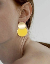 Fashion Yellow Acrylic Round Transparent Earrings