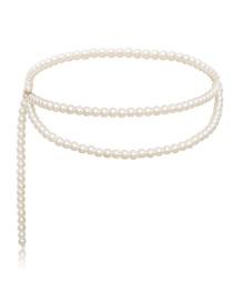Fashion Single Pearl White Geometric Chain Multi-layer Tassel Pearl Waist Chain
