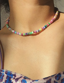 Fashion Color Mixing Geometric Single Layer Soft Leather Pottery Necklace