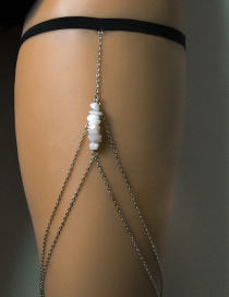 Fashion White K Geometric Irregular Rough Multi-layer Chain Tassel Thigh Chain