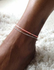 Fashion White K Geometric Rice Bead Chain Anklet Set