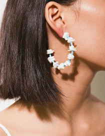 Fashion Blue C-shaped Shell Fragments: Rice Beads: Earrings