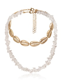 Fashion Transparent Color Contrast Irregular Stone Shell Geometric Necklace