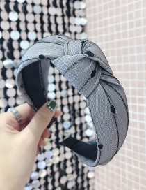Fashion Blue Mesh Double-layer Knotted Wide-brimmed Headband