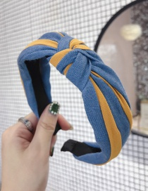 Fashion Yellow Denim Fabric Contrast Stripes In The Middle Knotted Thin Side Headband