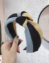 Fashion Blue Yellow Rainbow Contrast Stitching Knotted Wide-brimmed Headband
