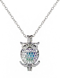 Fashion Owl Colorful Beads Openwork To Open Cage Necklace