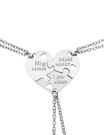 Fashion Stainless Steel Stainless Steel Heart Necklace Three-piece